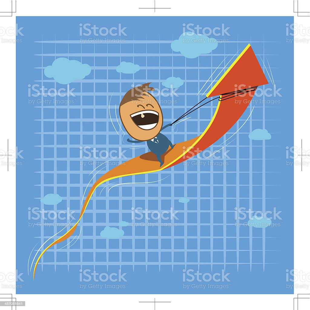 Cute character happy businessman riding on rising arrow dynamic. royalty-free stock vector art