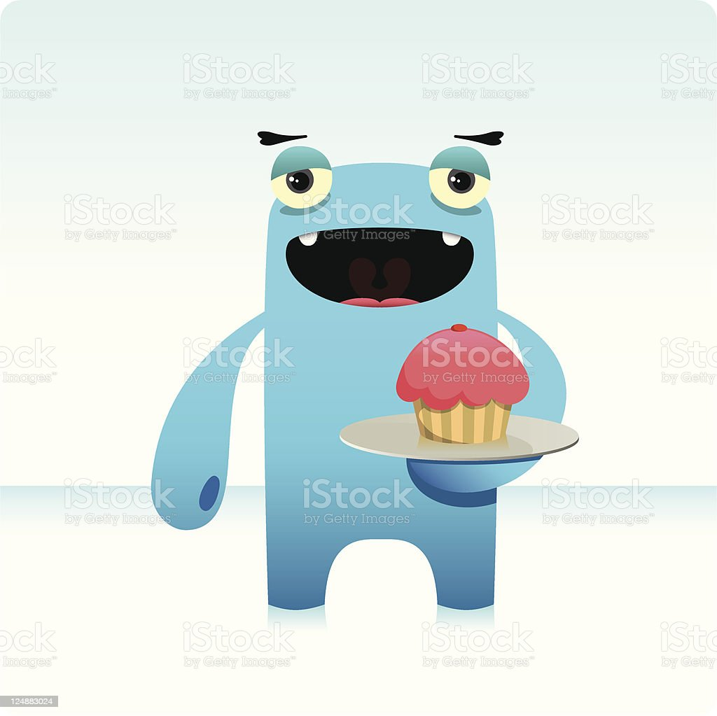 Cute Character Holding A Plate With Cupcake royalty-free stock vector art