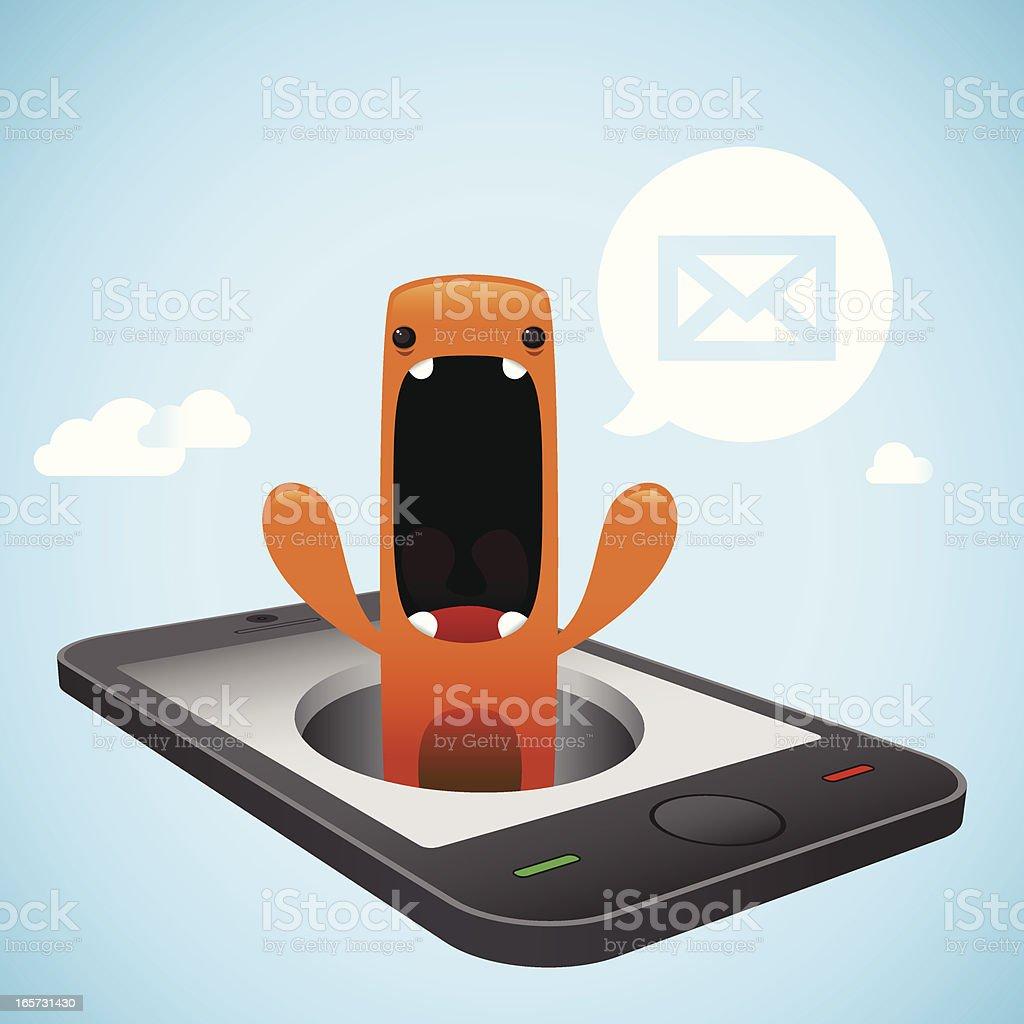 Cute Character Notification Smart Phone royalty-free stock vector art