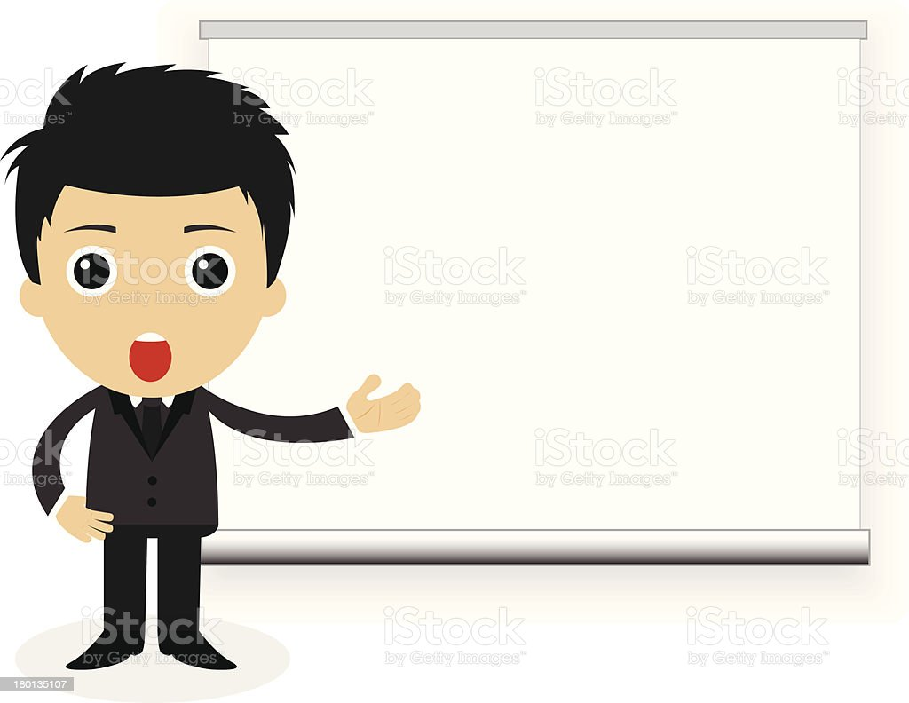 cute character of businessman showing a projection screen. royalty-free stock vector art