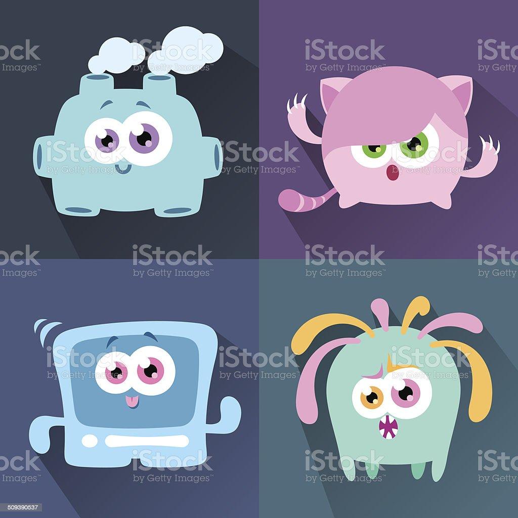 Cute Character Set Eight vector art illustration