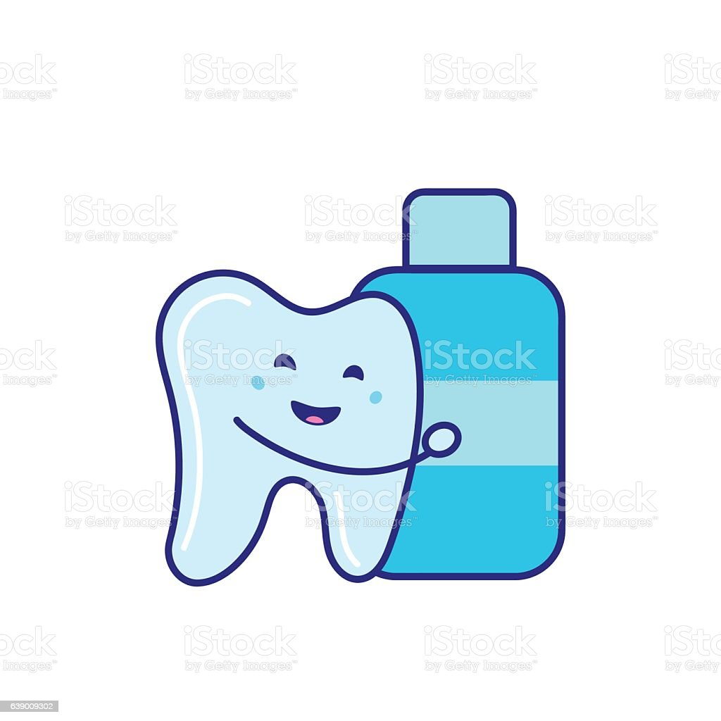 Cute Character Tooth And Mouthwash Vector stock vector art ...