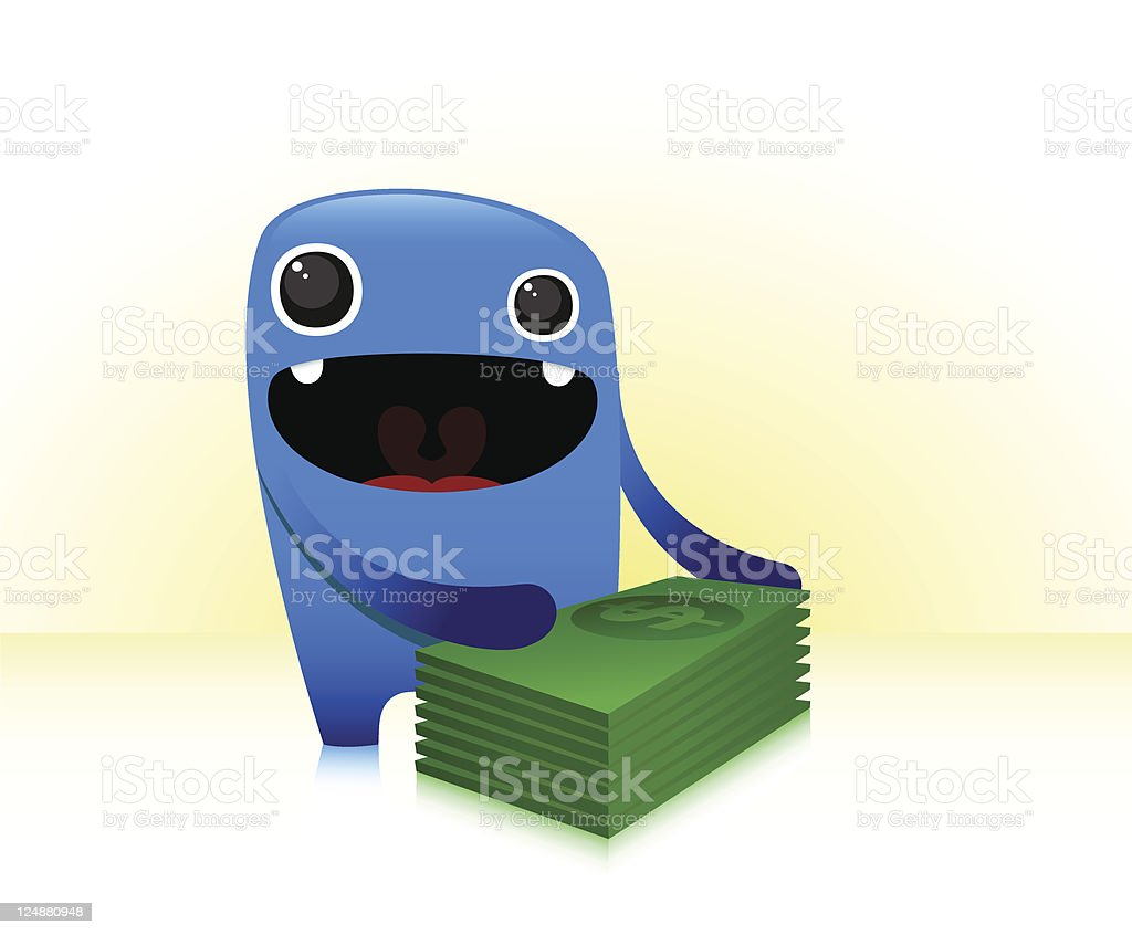 Cute Character Won The Prize Money royalty-free stock vector art