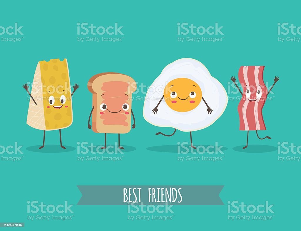 Cute characters chees, bread, egg and bacon vector art illustration