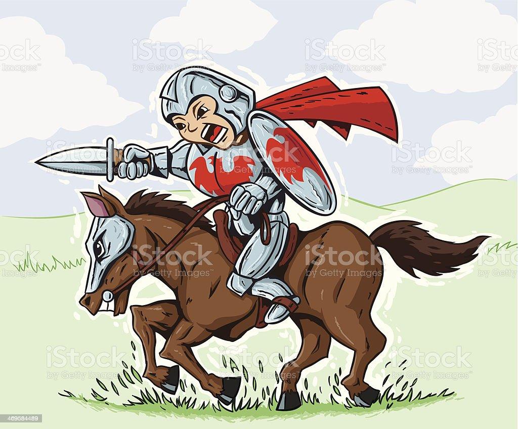 Cute Charging Knight vector art illustration