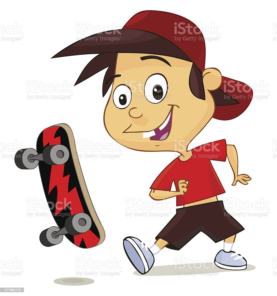 cute cheerful boy playing with his skate royalty-free stock vector art