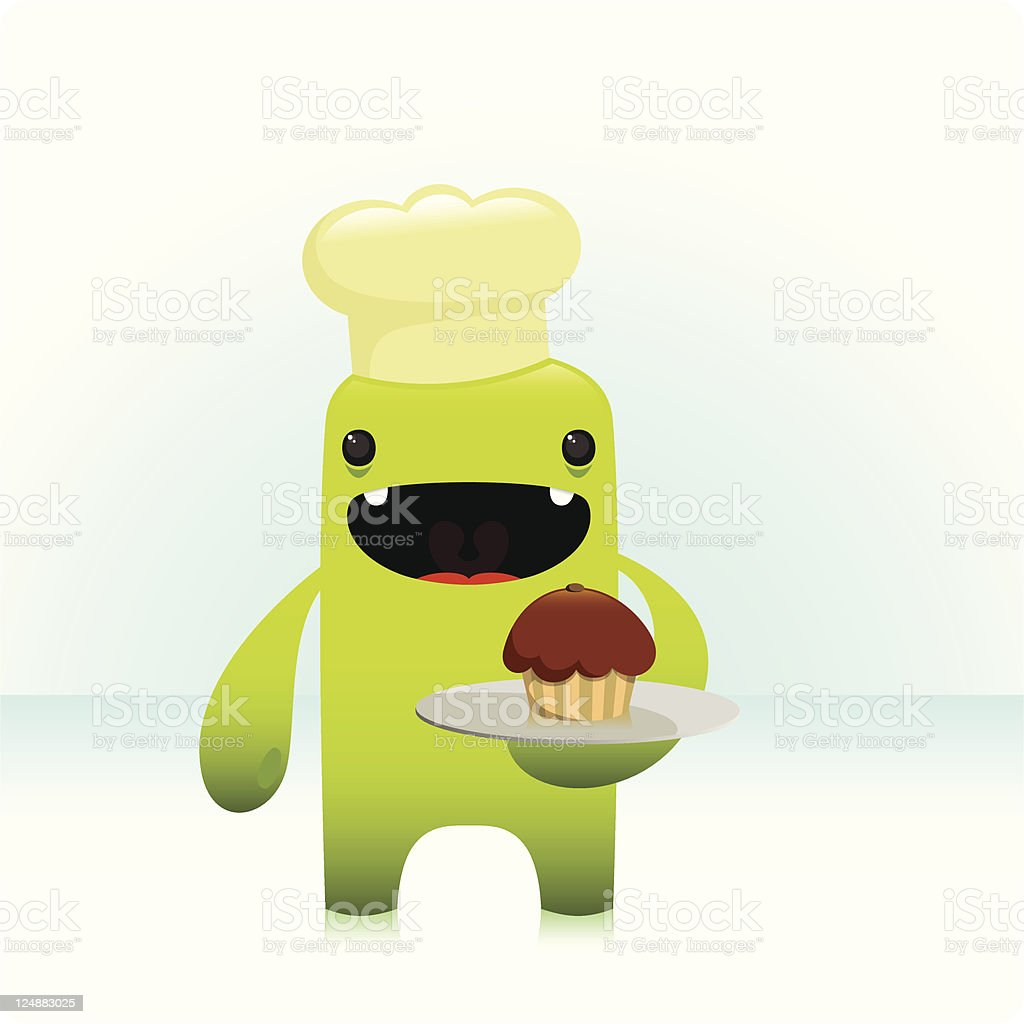 Cute Chef Character Holding A Plate Of Cupcake vector art illustration