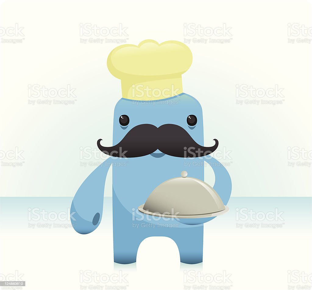 Cute Chef Character With Bold Moustache vector art illustration