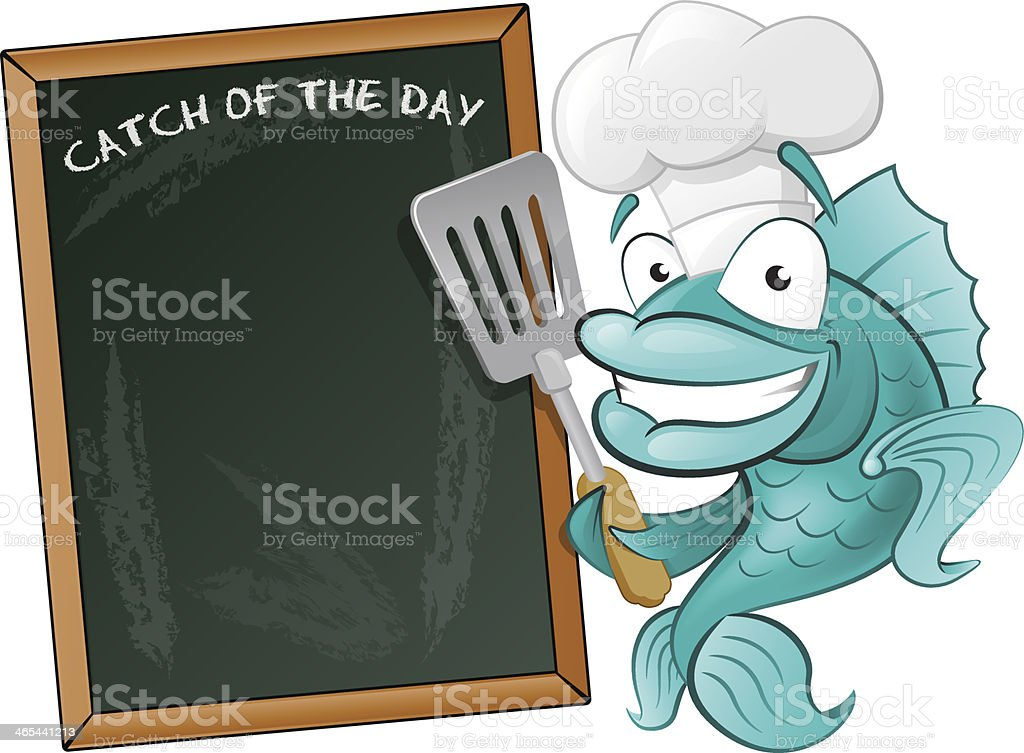 Cute Chef Fish with Spatula and Menu Board. vector art illustration