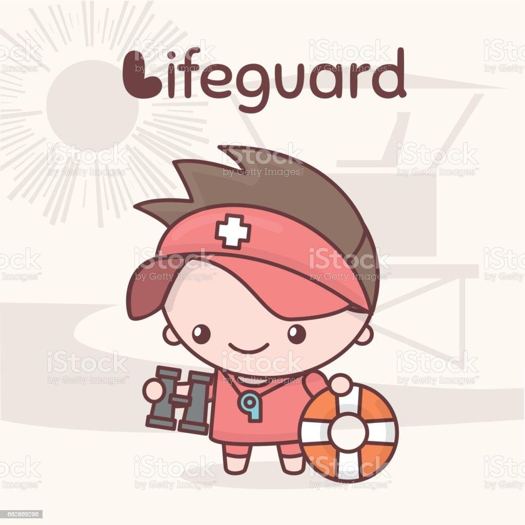 Cute chibi kawaii characters. Alphabet professions. Letter L - Lifeguard. vector art illustration