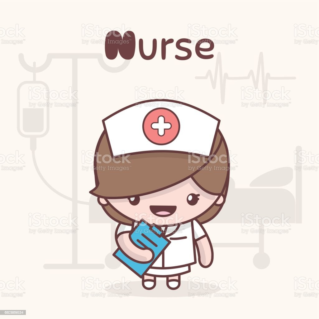 Cute chibi kawaii characters. Alphabet professions. Letter N - Nurse. vector art illustration