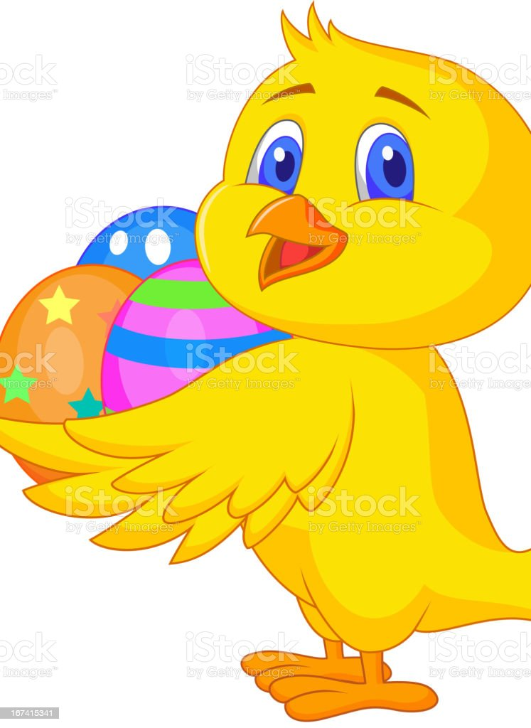 Cute chicken cartoon with easter egg royalty-free stock vector art