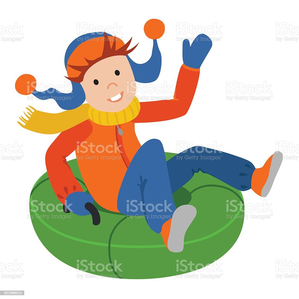 Cute child on snow tubing. Vector illustration isolated  white background vector art illustration