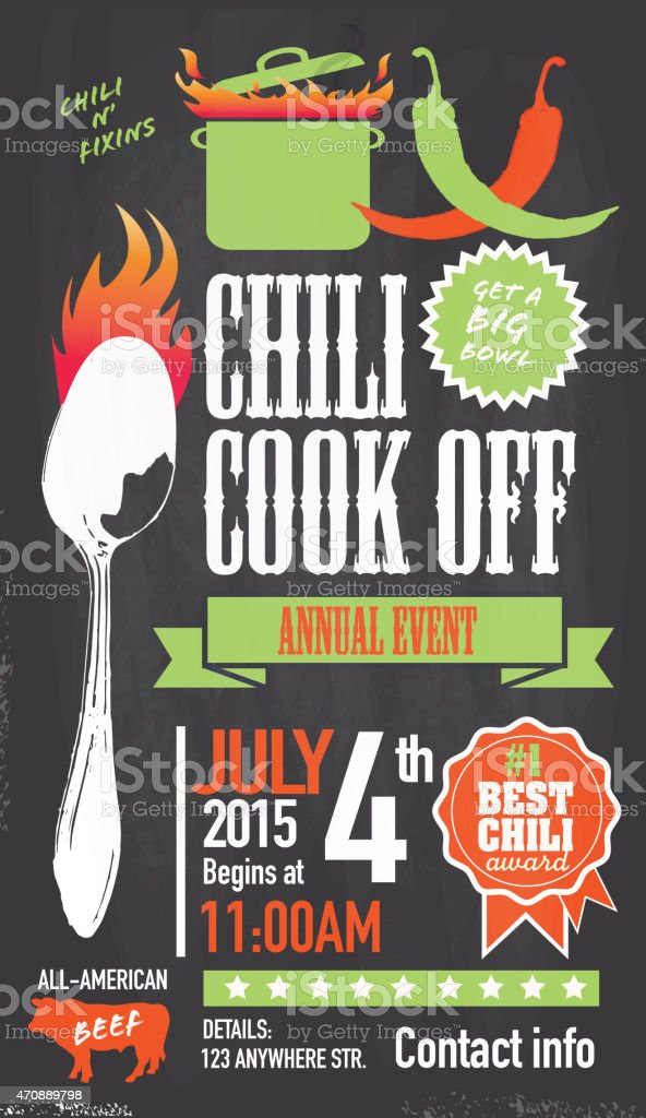 Cute Chili cookoff invitation design template on chalkboard background vector art illustration