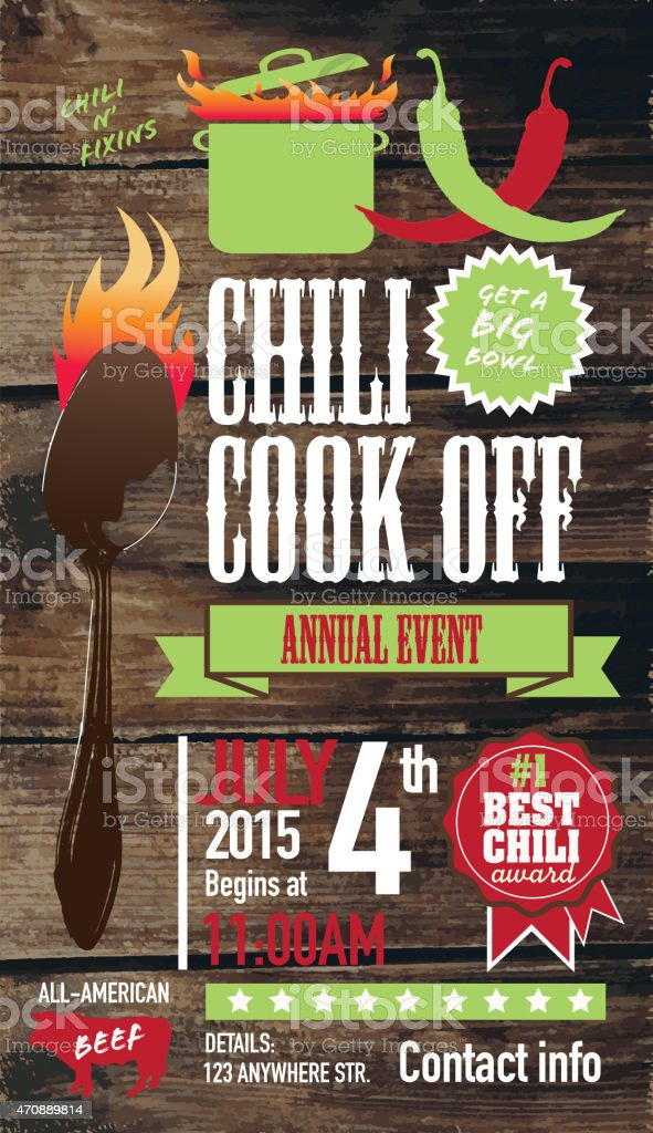 Cute Chili cookoff invitation design template on wooden background vector art illustration