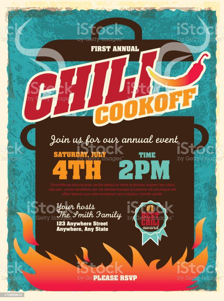 Cute chili cookoff party invitation design template vector art illustration