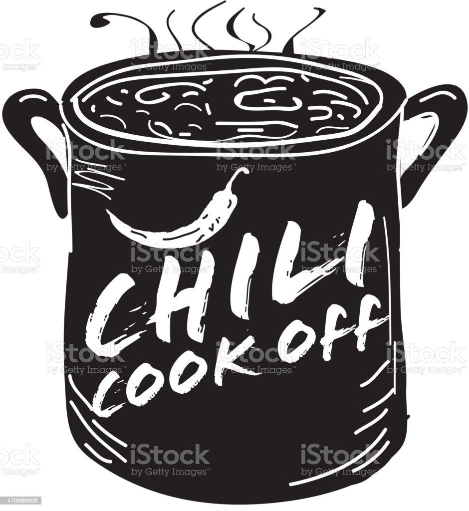 Cute Chili Pot Cookoff Event Icon Design stock vector art ...