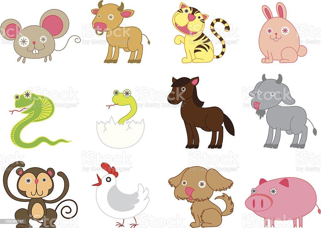 Cute chinese horoscope. vector art illustration