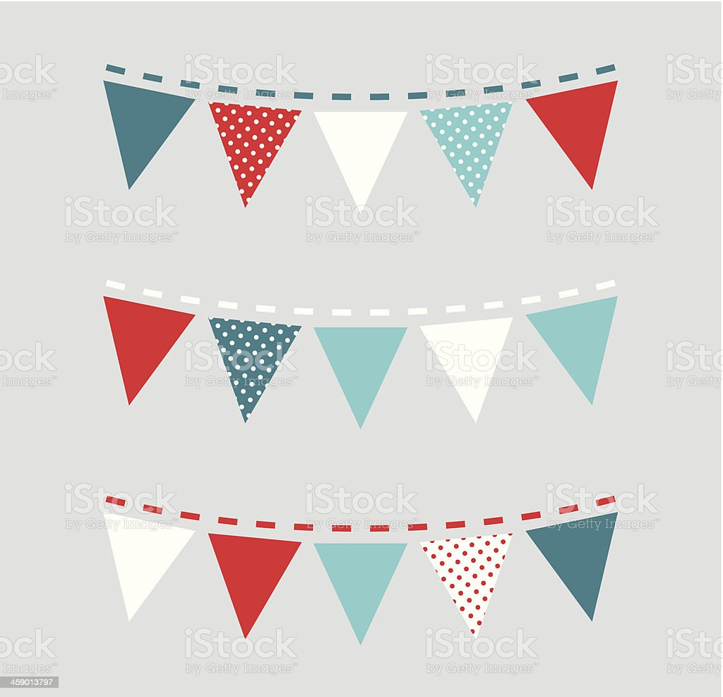 Cute Christmas bunting or flags ( red and blue ) royalty-free stock vector art