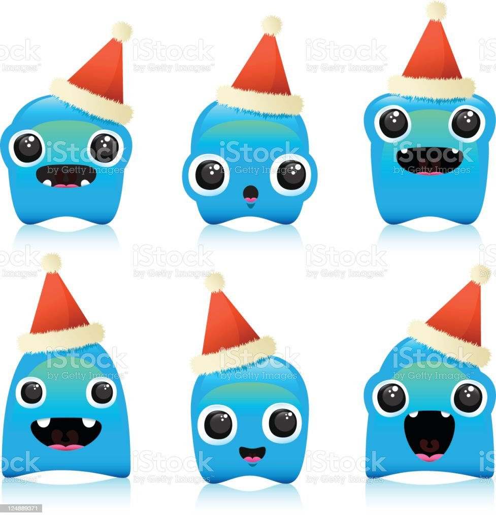 Cute Christmas Characters With Party Hats royalty-free stock vector art