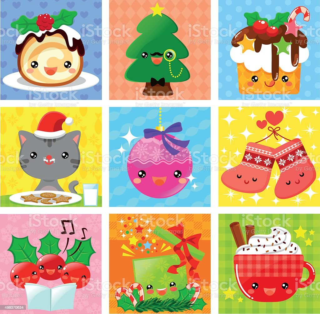 cute Christmas collection vector art illustration