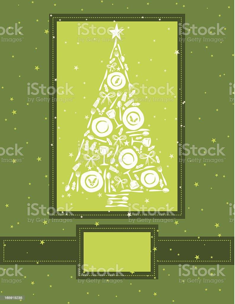 Cute Christmas Dinner Concept On Green Background vector art illustration