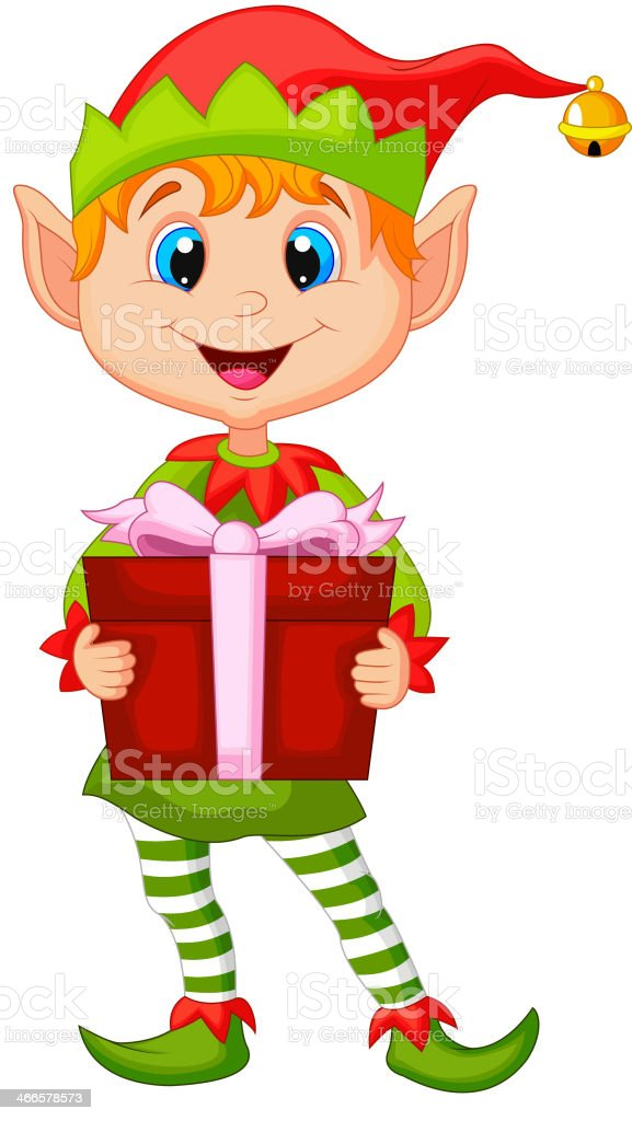 Cute christmas elf cartoon holding a gift royalty-free stock vector art
