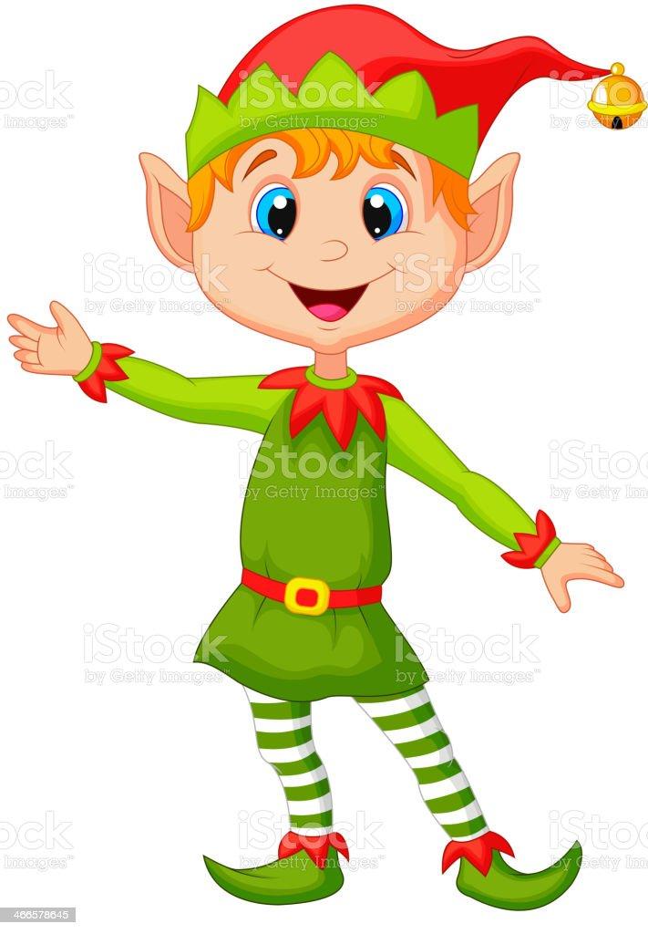 Cute christmas elf cartoon presenting royalty-free stock vector art