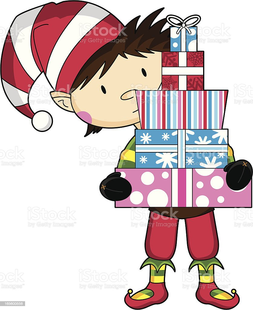 Cute Christmas Elf with Gifts royalty-free stock vector art