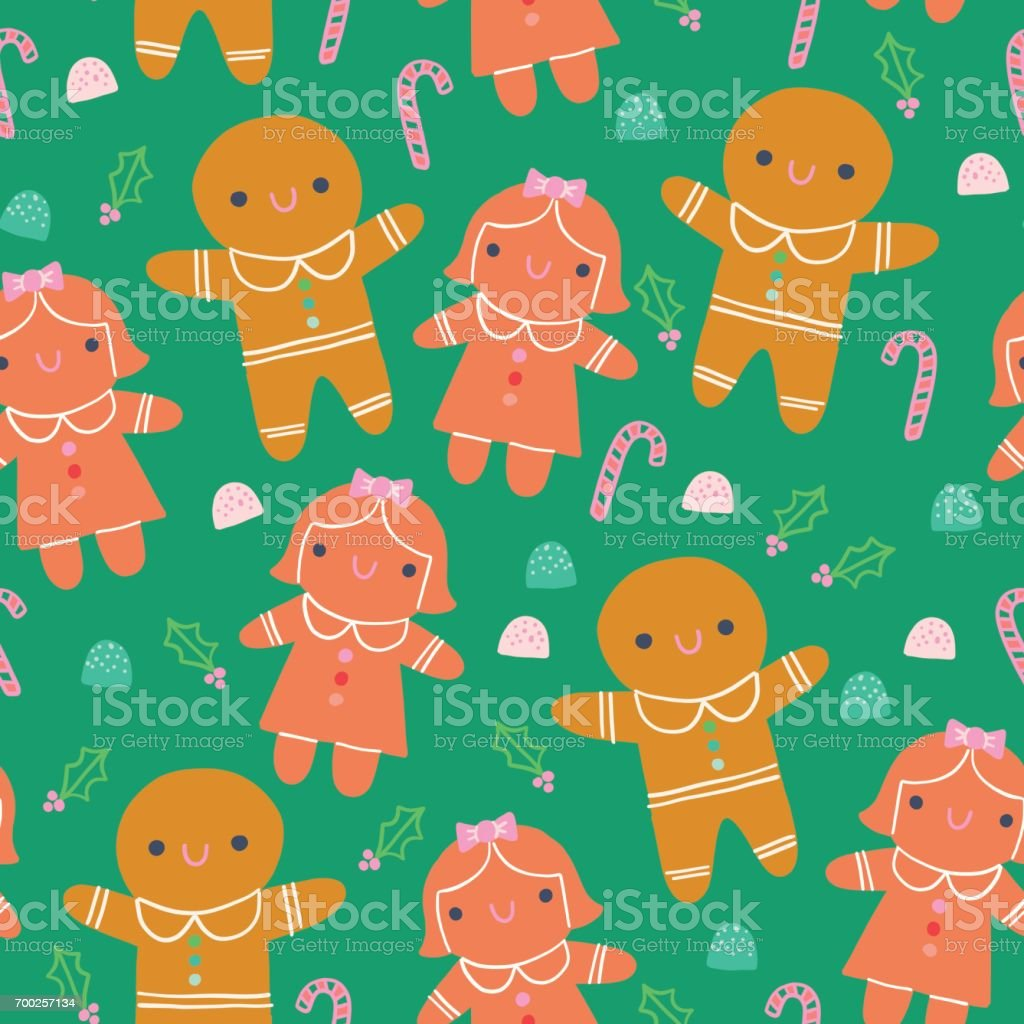 Cute Christmas Gingerbread Illustration Seamless Pattern Green Background vector art illustration