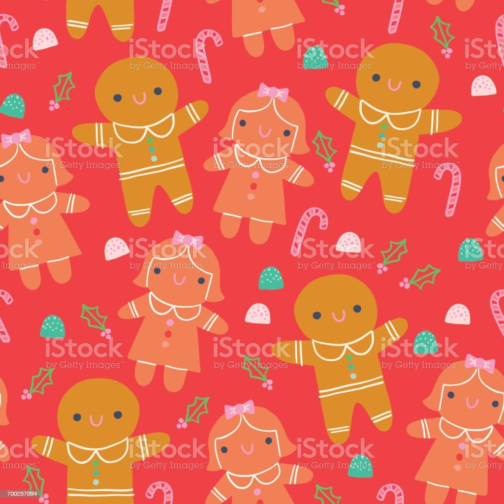 Cute Christmas Gingerbread Illustration Seamless Pattern Red Background vector art illustration