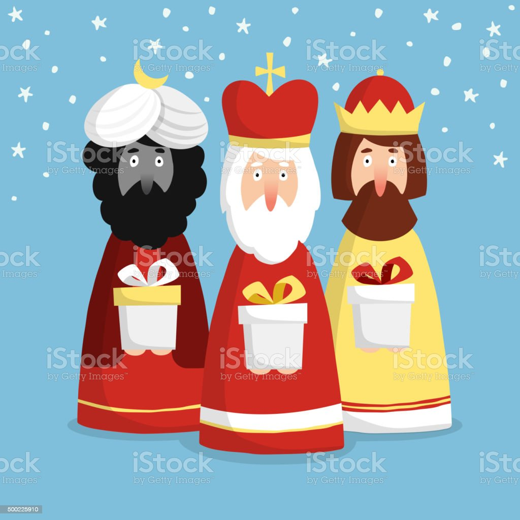 Cute Christmas greeting card with three kings, flat design, vector vector art illustration