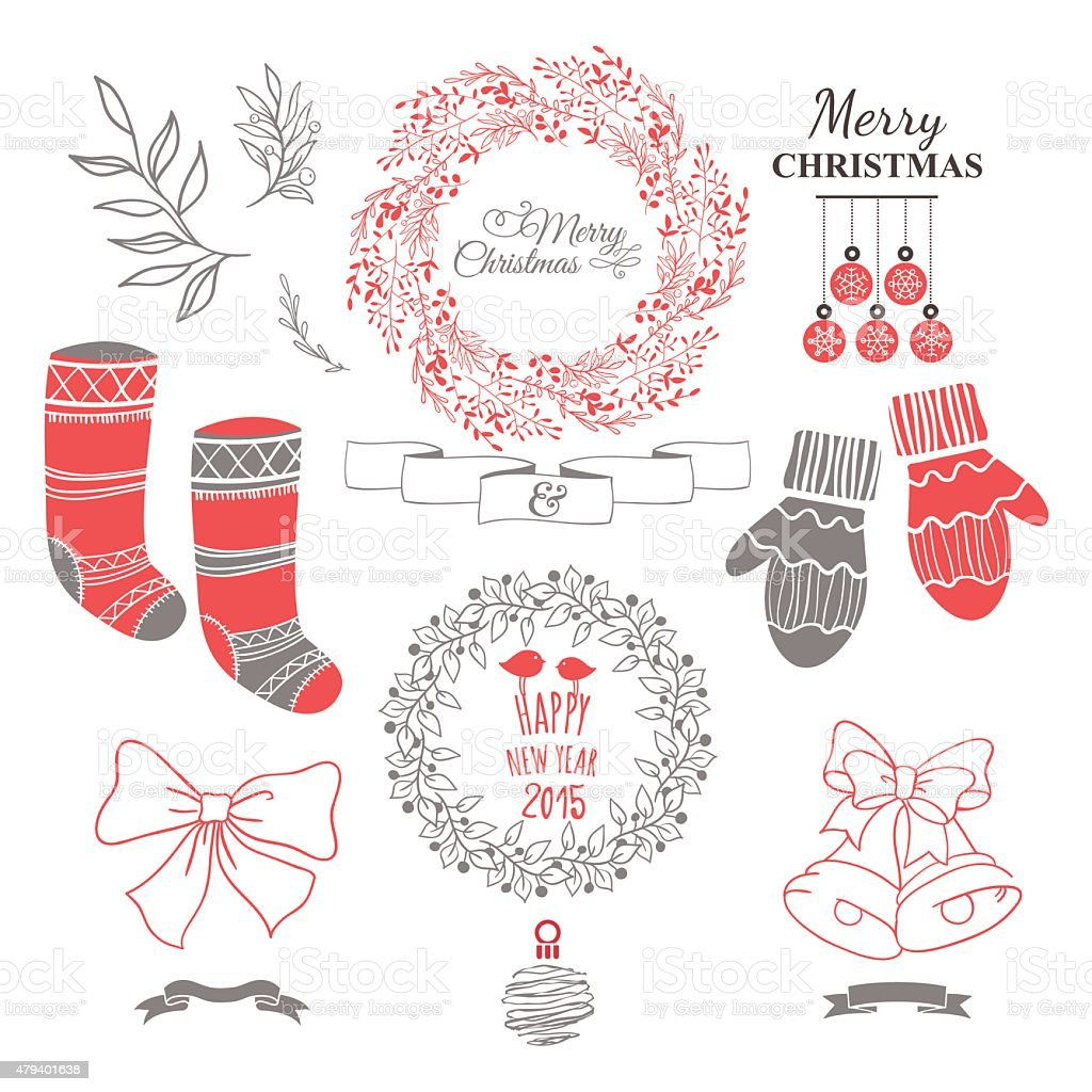 Cute Christmas set with wreath & decorative elements. vector art illustration