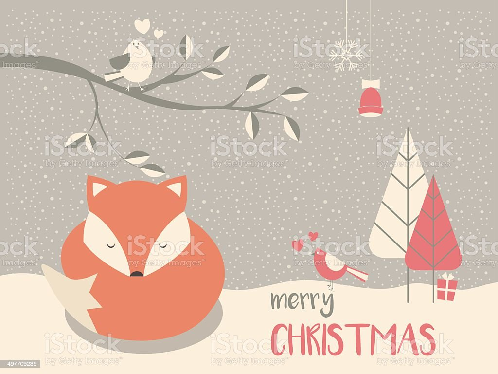 Cute Christmas sleepy baby fox surrounded with floral decoration vector art illustration
