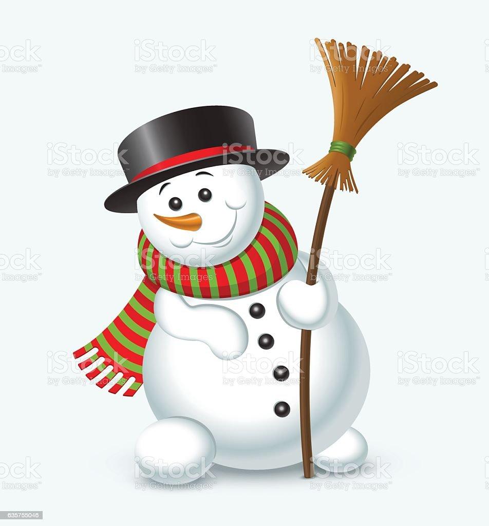 Cute Christmas snowman isolated on white background. Vector illustration vector art illustration