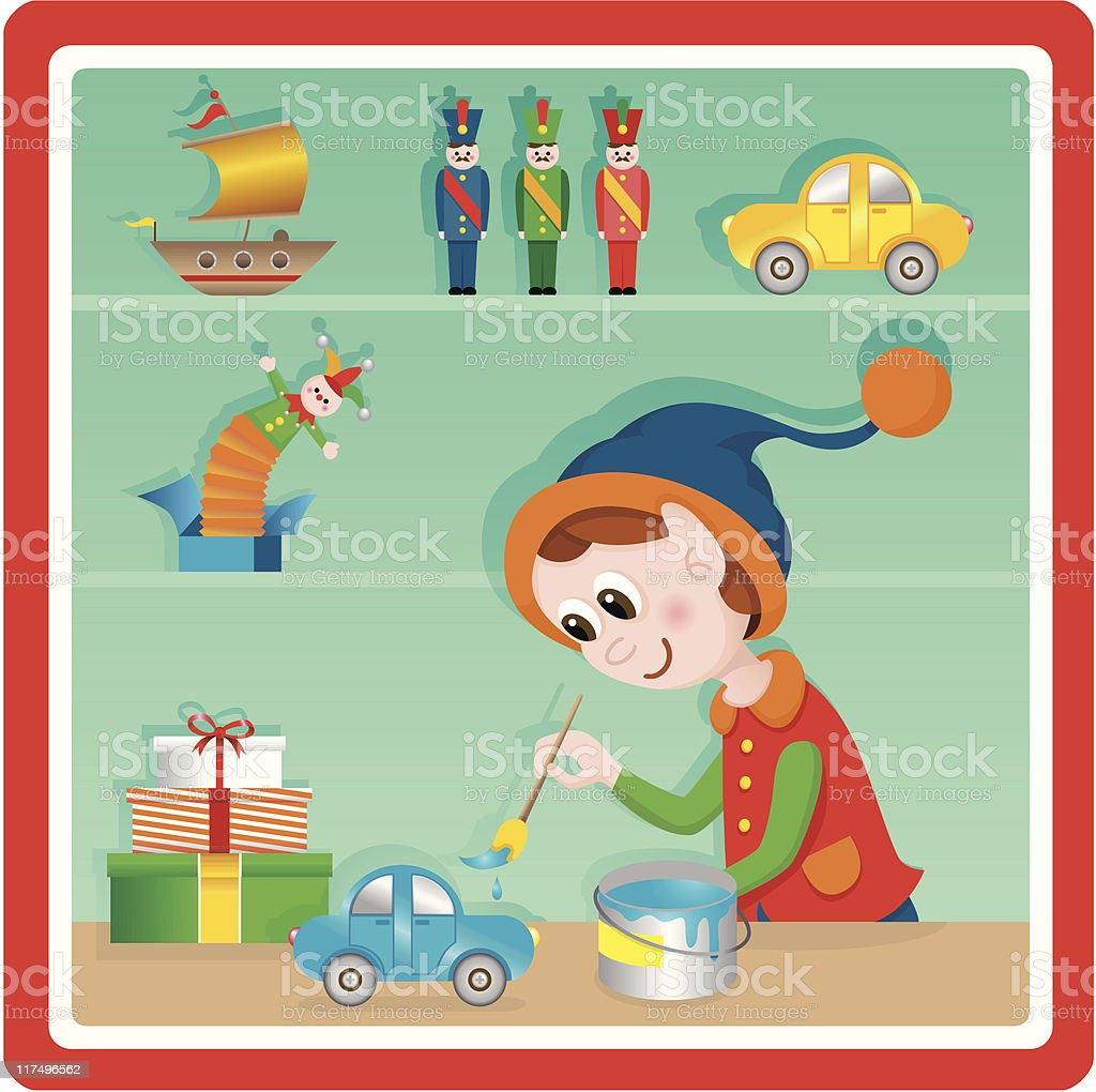 Cute Christmas toy factory painter elf royalty-free stock vector art