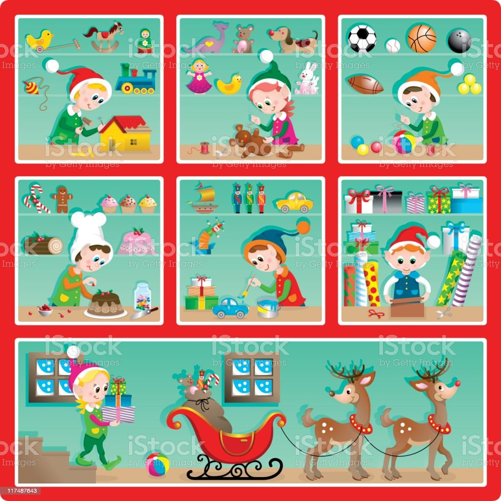 Cute Christmas toy factory set royalty-free stock vector art
