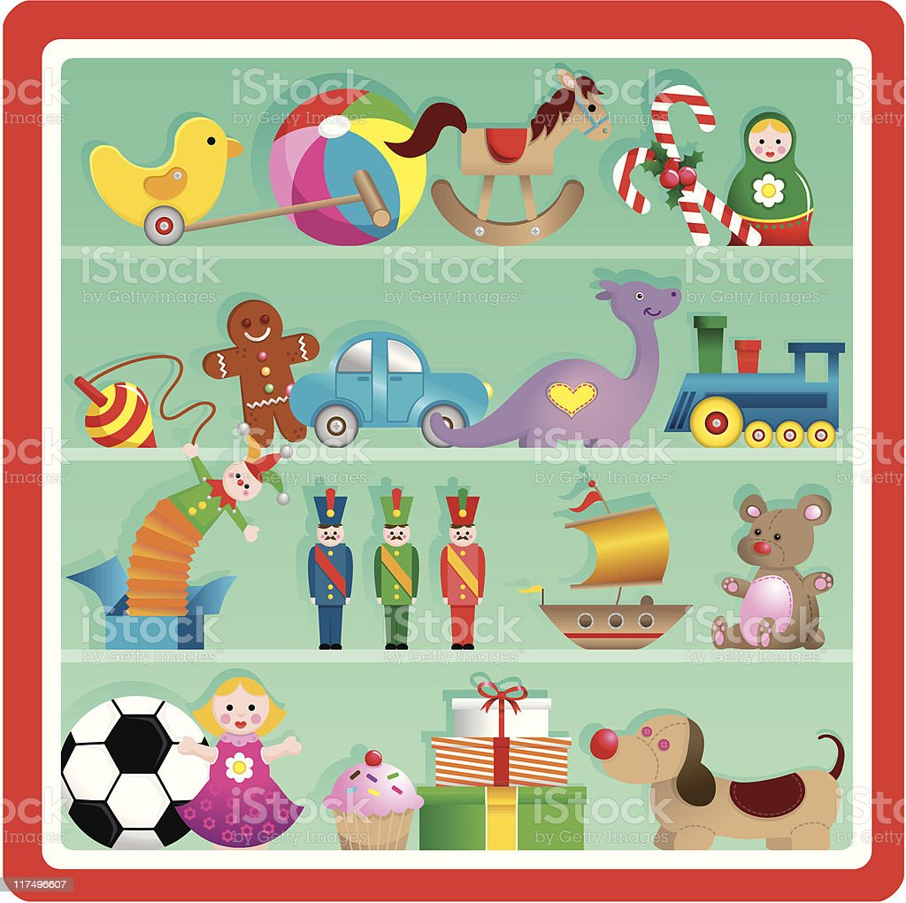 Cute Christmas toy store shelf vector art illustration