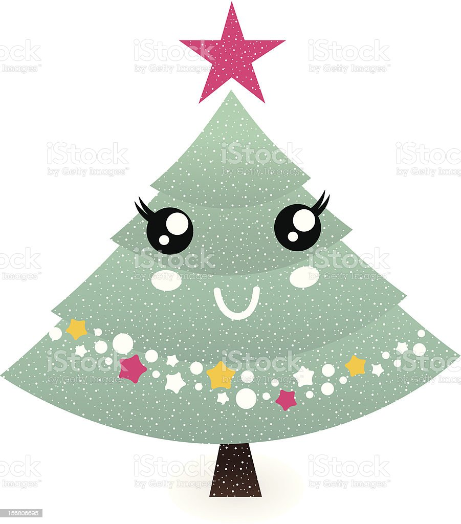 Cute christmas tree character isolated on white royalty-free stock vector art