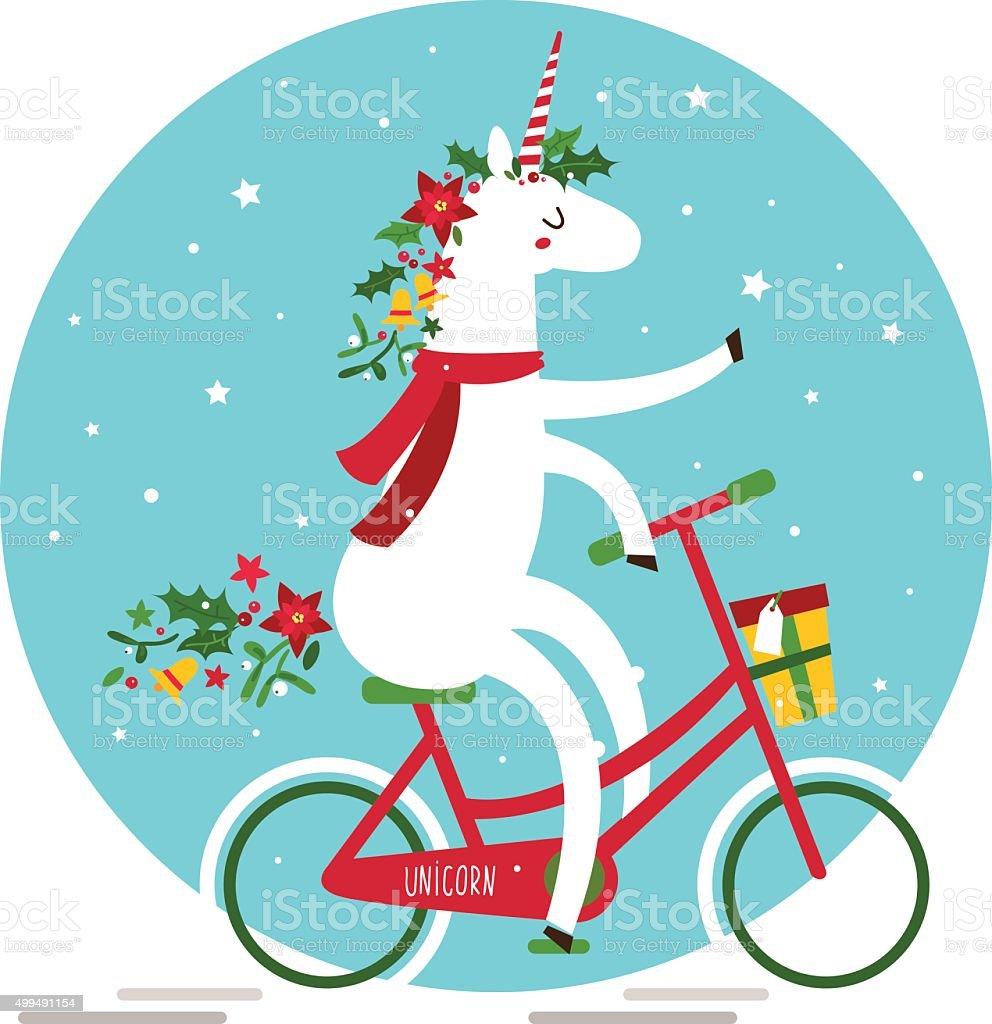 Cute Christmas Unicorn vector art illustration