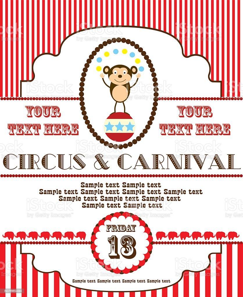 cute circus card design vector art illustration