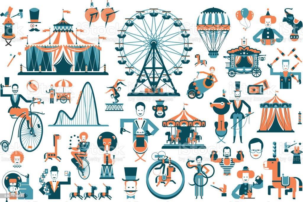 cute circus performance related items vector art illustration