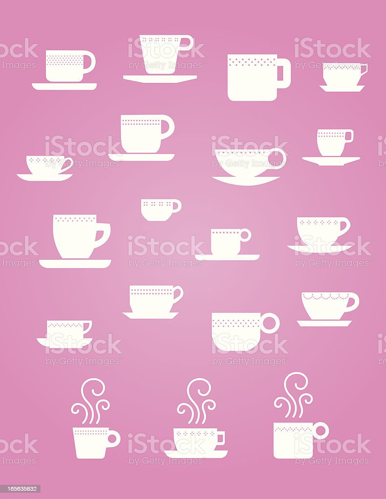 Cute Coffee and Tea cups royalty-free stock vector art