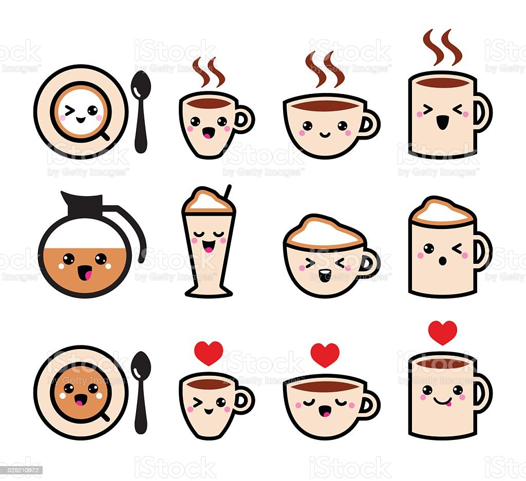 Cute coffee, cappuccino and espresso Kawaii icon set - vector vector art illustration