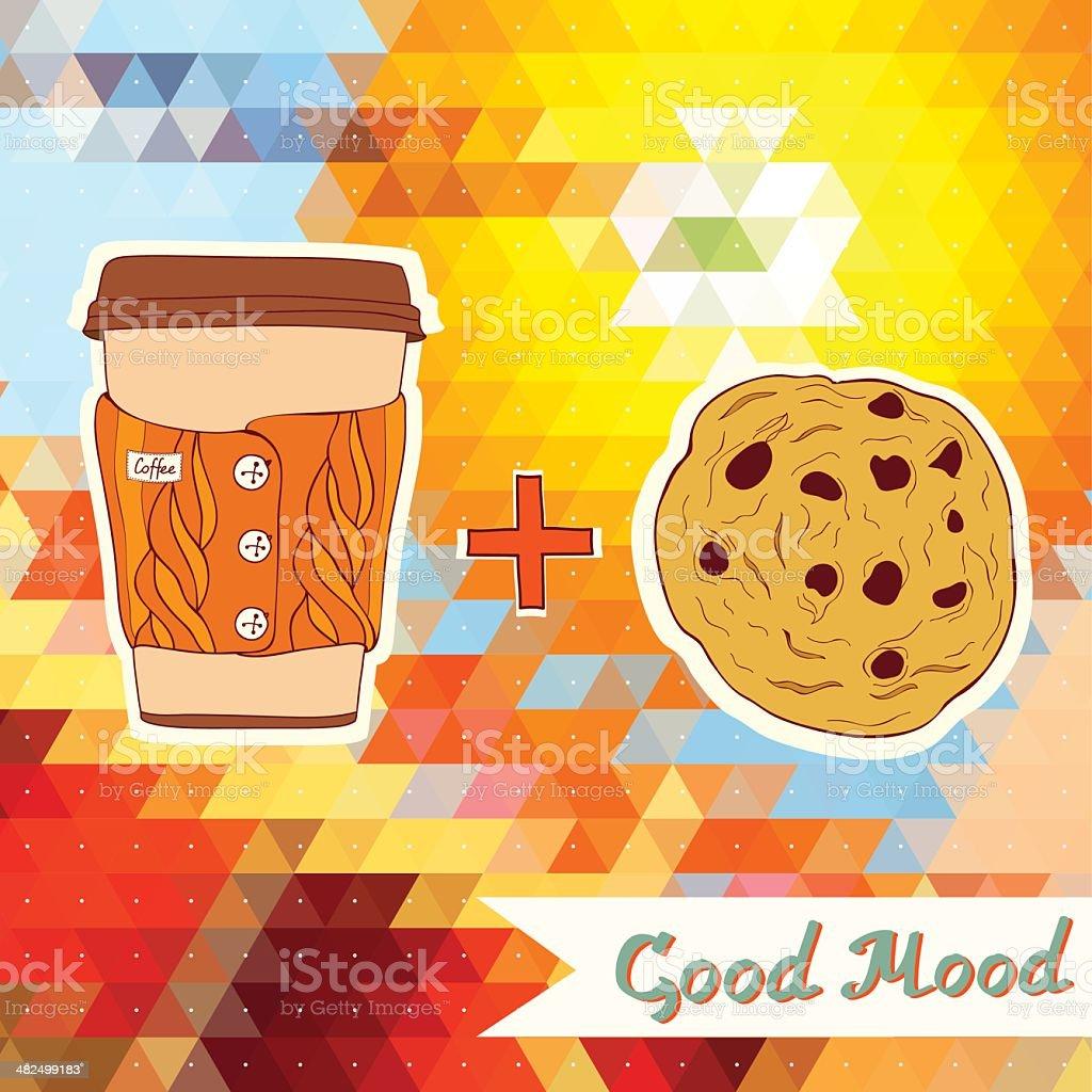 Linda una taza de café y chocolate sobre el fondo colorido. illustracion libre de derechos libre de derechos