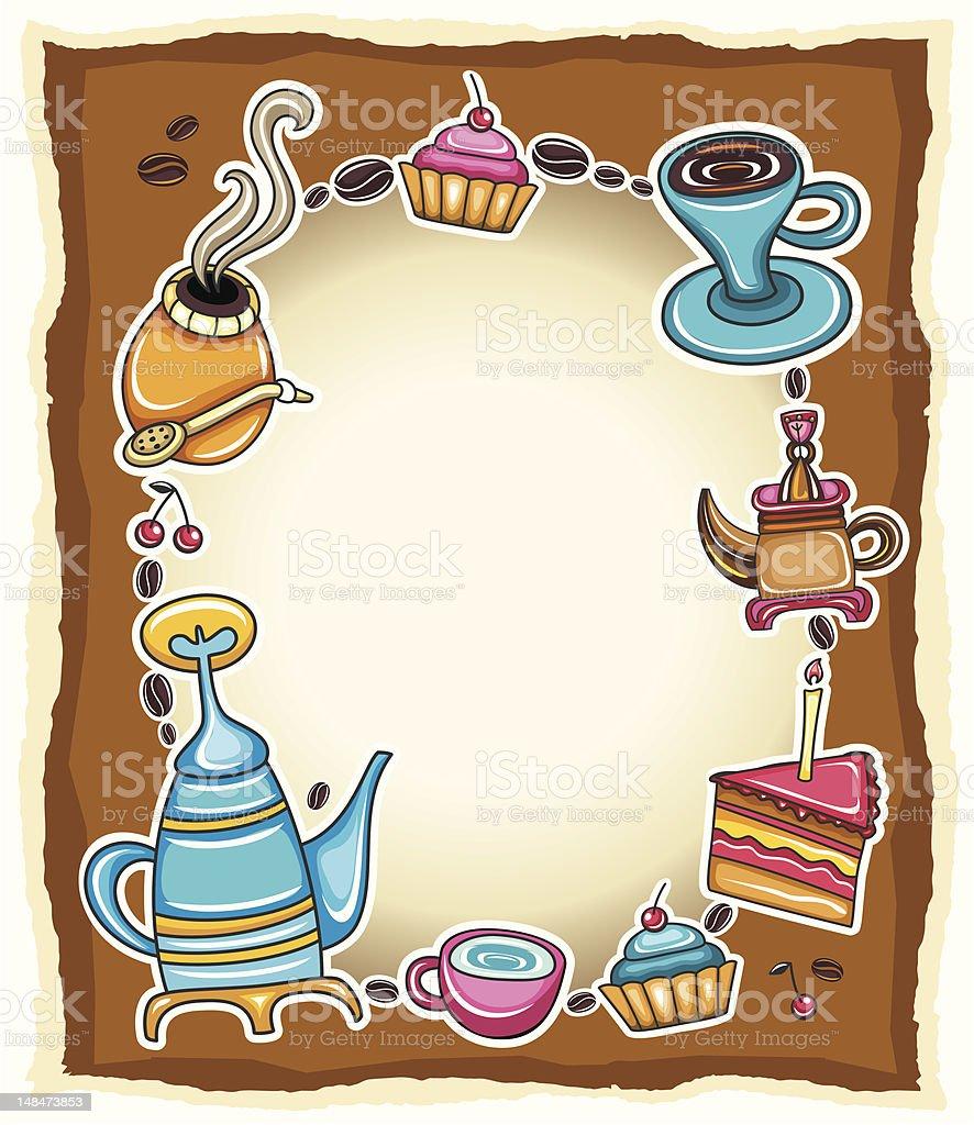 Cute coffee frame royalty-free stock vector art