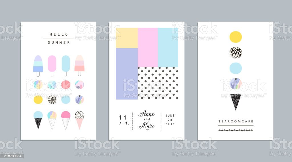 Cute collection of different ice cream. Vector. Isolated vector art illustration