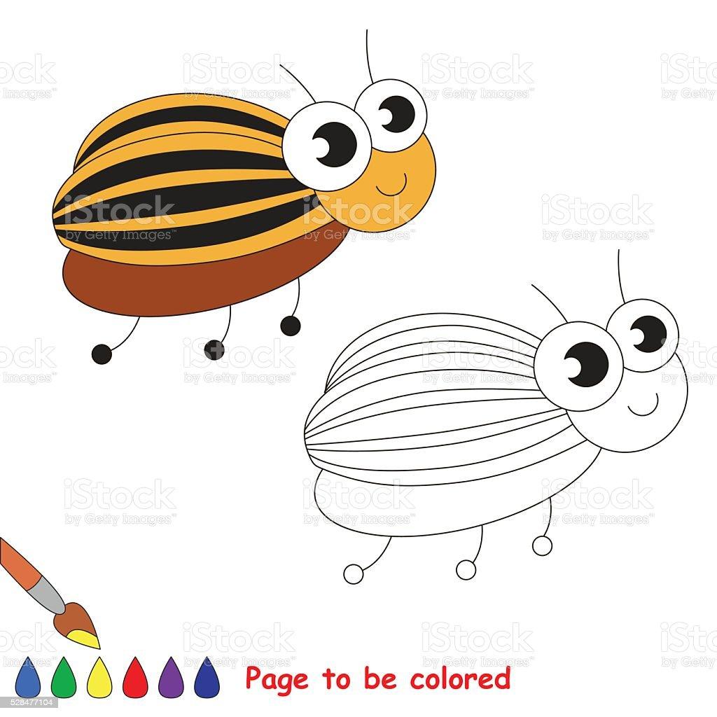 Cute colorado potato beetle cartoon. Page to be colored. vector art illustration