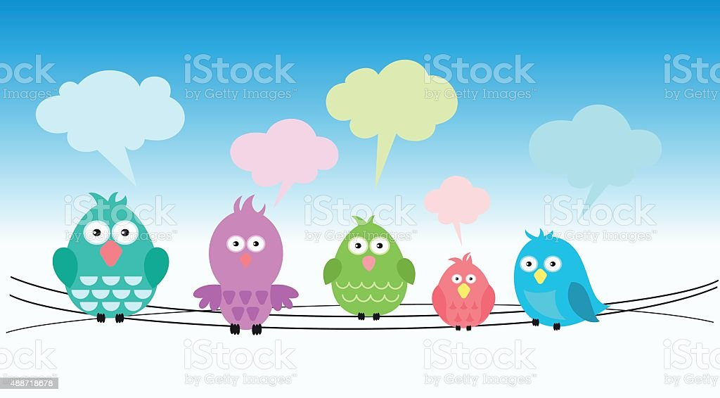Cute colorful birds on wires vector art illustration