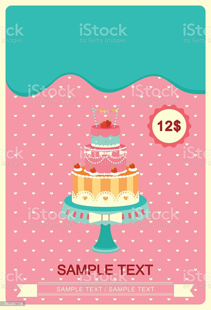 Cute colorful cakes card royalty-free stock vector art